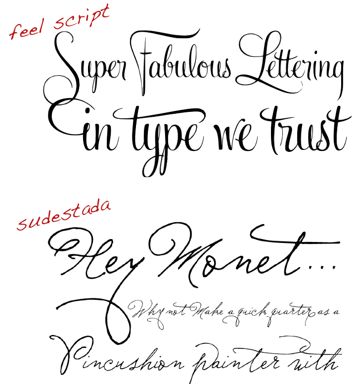 Script fonts I 39ve been eyeing these two Feel Script Sudestada
