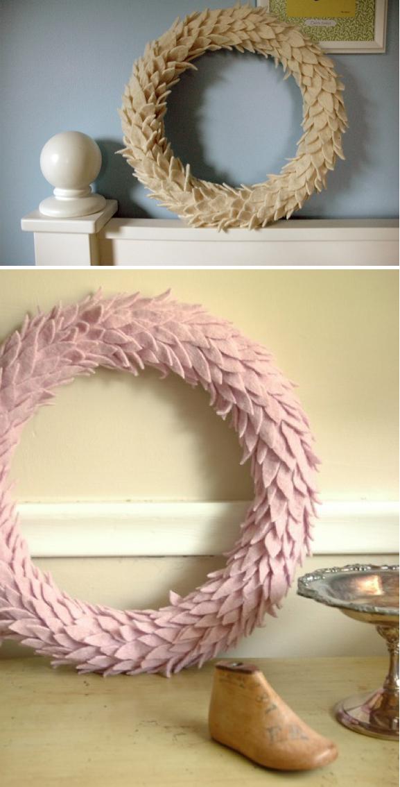Felt wool wreath